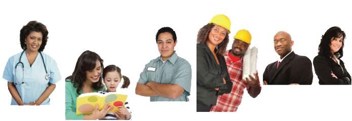 Un collage d'images représentant diverses professions visées par la FLAP/OSLT
