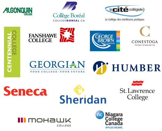 The logos of the 13 colleges: Algonquin, Collège Boréal, Centennial, Conestoga, Fanshawe, George Brown, Georgian, Humber La Cité, Mohawk, Niagara, Seneca, and Sheridan. Each logo is a link to that college's website.