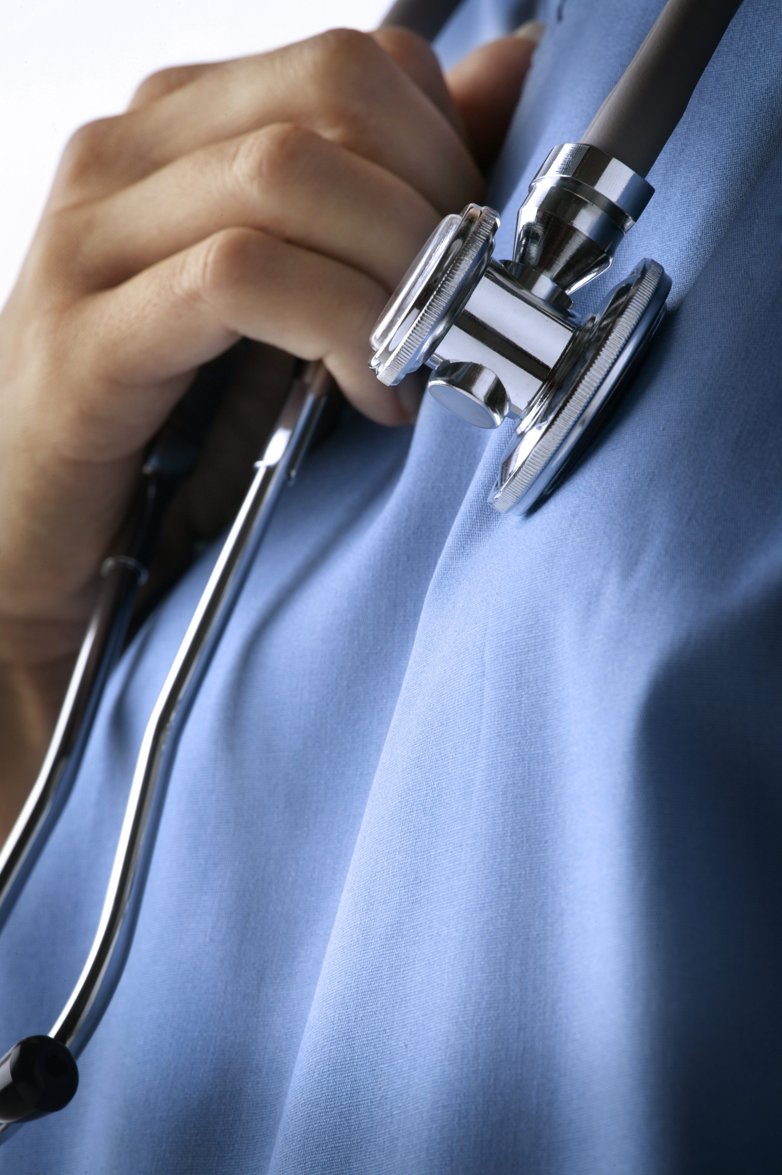 Close-up of a stethoscope around the neck of a healthcare worker